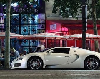 Poster of Bugatti Veyron Grand Sport White Left Side HD Print