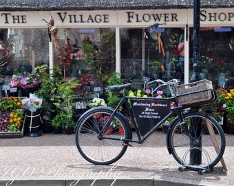 Bicycle - Corner Flower Shop - England- English Photography- English Village- English Countryside- Street Photography- Fine Art Photography