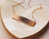 Wedding Date Necklace - Roman Numeral Necklace - 14K Rose Gold Fill