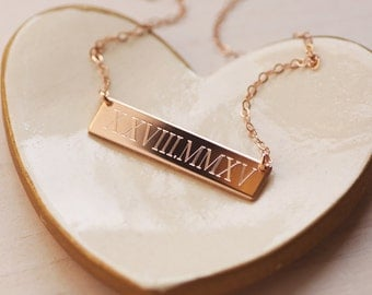 Wedding Date Necklace - Roman Numeral Necklace - Rose Gold Fill