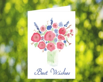 Best Wishes Card Download: Watercolor Vase Card - Digital Download - Downloadable Card - Best Wishes Greeting Card - Going Away Card