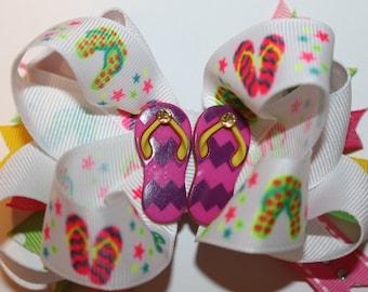 SALE: Flip Flop Hair Bow, Tongs Hair Bow, Flips Hair Bow, Flip Flops Bow, Flips Bow, Girls Flip Flop Hair Bow, Summer Hair Bow,