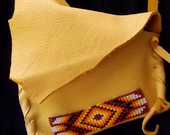 Deerskin Beaded Medicine Bag- Native American Style,  Leather Neck or Shoulder Bag