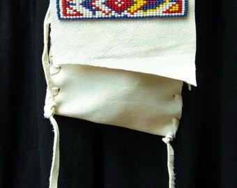 White Deerskin Beaded Medicine Bag- Native American Style,  Leather Neck Bag, Amulet Bag