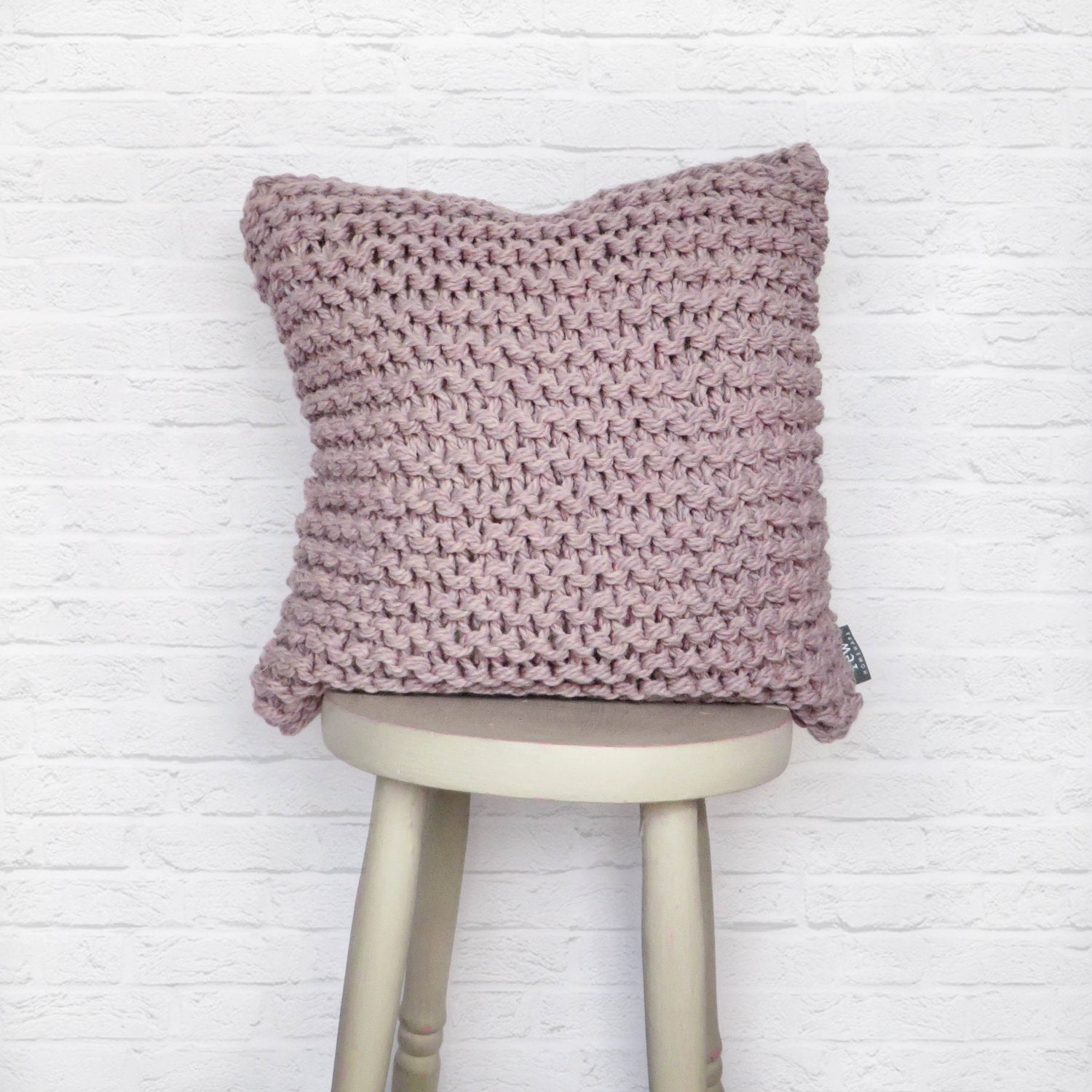 Knitted Infinity Scarves Patterns : Chunky Knit Cushion Pillow Chunky Garter Cushion in Lilac Rose