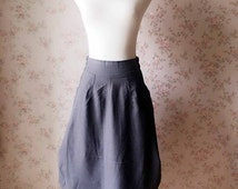Women Loose Cozy Linen Skirt, Gray Ankle length Skirts, Linen Asymmetric Skirts, Large Size Long Skirt, 2016 Summer Skirts Gray Skirt(WS27)