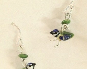 Blue Tit Ceramic Earrings