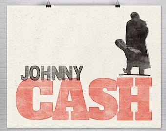 Johnny Cash Art Print, Rock Poster, Home Decor, Screen Print Look, Hatch Print Look