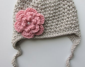 Girl Crochet Hat Baby Newborn Toddler Child Earflap Beanie