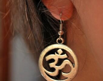 FREE SHIPPING! Om ohm earrings, Spiritual earrings, hippie earrings, ohm yoga earrings, buddhist earrings, meditation earrings