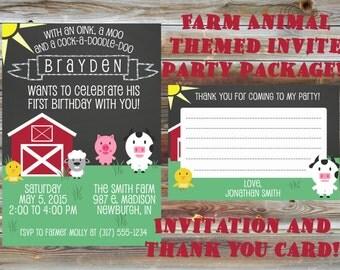 Printable Custom Chalkboard Farm Theme First Birthday Party Package - 1st Birthday Invitation & Thank You Card - Farm Animal Birthday Party