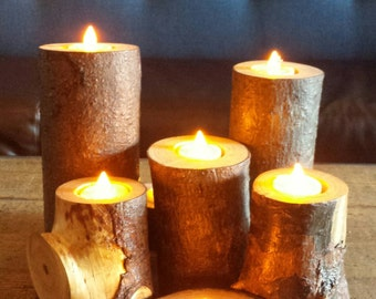 Set of 3 Wooden Candle Holders