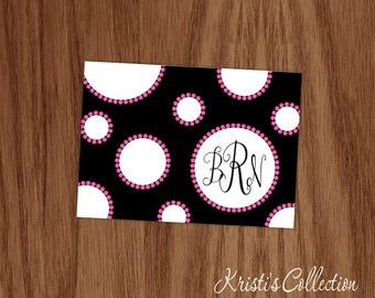 Girls Personalized Note Cards Notecards Personal Teen Girl Mom Stationery Stationary - Custom Monogrammed Polka Dot Black Pink Note Cards