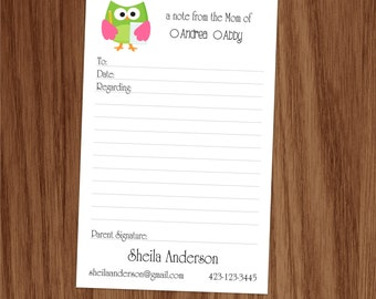Personalized Notepad for Mom Mommy Parent Excuse Note Pad for Back to School Owl Lined Personal Stationery Stationary