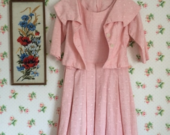 Original 1950s Pink Embroidered Pleated Dress and Matching Bolero. Size 8 UK. Prom/ Wedding/ Party Dress.