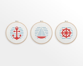 Nautical Cross Stitch Patterns - Set of 3 - Anchor, Boat, Wheel - Modern Counted Cross Stitch, Nursery Decor - INSTANT DOWNLOAD