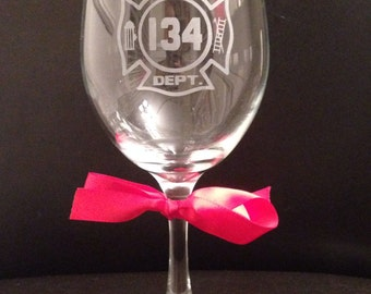 Personalized 20 Ounce Etched Firefighter Symbol Wine Glass