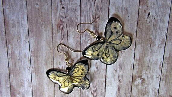 Gold resin butterfly Crystal  butterfly earrings Eco resin Handmade butterfly dangles Hand painted Gold and black butterfly  jewellery