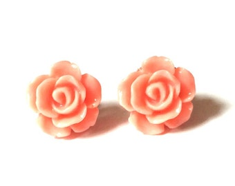Rose Earring Studs - Coral Rose Earrings - Coral Rose Stud Earrings - Light Pink Flower Earrings - Gold Jewelry