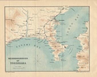 1907 Yokohama Japan Antique Map