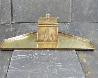 Vintage french copper INKSTAND with glass pot Inkwells Art Deco