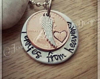 Pennies from Heaven * Hand Stamped Necklace * Choose your Year * Heart Stamp * Angel Wing * Baby Feet Optional * Memorial Jewelry *