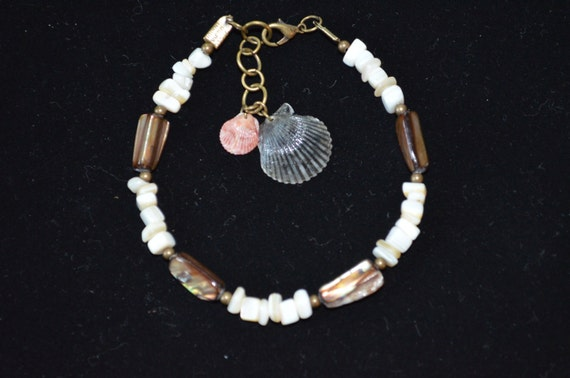 Ankle Bracelet, Anklet Mother of Pearl Shell Beads with Scallop Shells & Bronze Accents