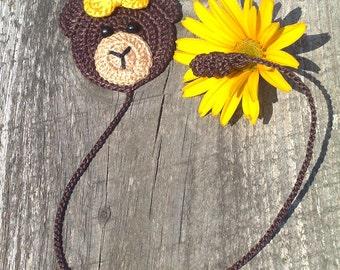 Crochet Bookmark  Crochet brown bear Homemade gifts Handmade bookmark Children's bookmark