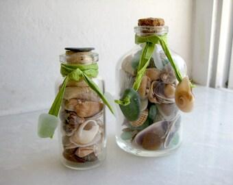 2pcs, Sea Shell Bottles, Sea Glass Decor, Beach Glass, Greek Sea Glass, Sea Shells
