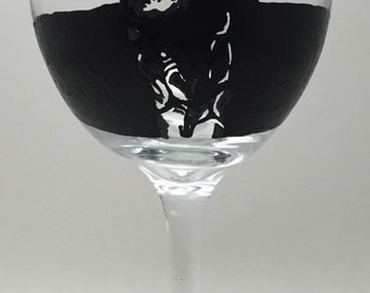Ray Charles Silhouette Hand Painted Wine Glass