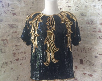 Vintage 80s era Black & Gold Sequined Top / Fancy Top / Tunic / Size Medium to Large