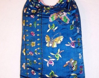 1920's Cornflower Blue Chinese Hand Embroidered Handbag with Butterflies