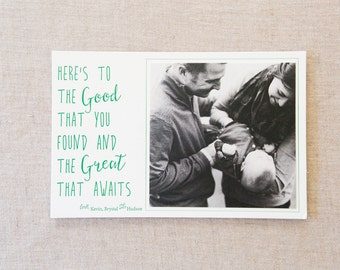 Letterpress Well Wishes Card - Baby Announcement, Christmas Card, Moving Announcement, Engagement Announcement