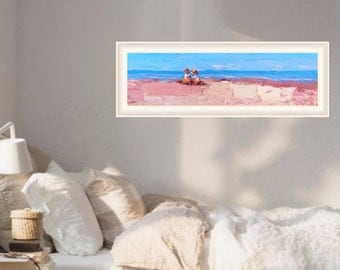 Children on the Beach Original Oil Painting, Original Painting, Original on canvas, Children Room, Children Painting