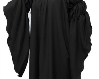 I-D-D Renaissance Medieval Peasant Dress Up Pirate Faire Celtic 2-Puff Sleeves Black Blouse