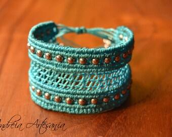 """Turquoise Red"" Macrame bracelet"