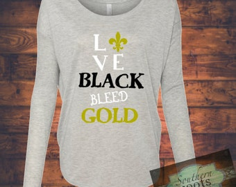 LOVE black BLEED gold New Orleans SAINTS inspired top!
