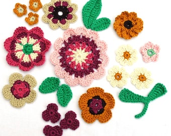 Crochet appliques - mix of 16 colorful flowers and 5 leaves, Field of Flowers Set 01