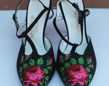 Vintage 50s Womens Rose Floral Heels Shoes Pin-Up Retro Rockabilly size 8N Narrow Geuting's of Philadelphia