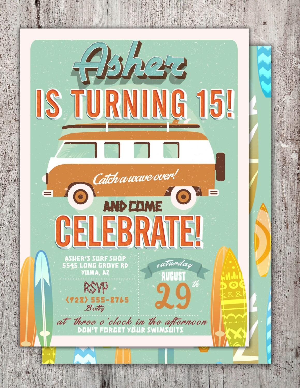 Pool Party Invitation, surfer birthday, birthday invitation ...