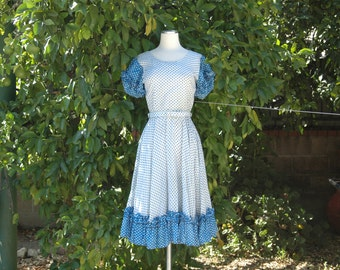 Blue and White Polka Dot Country Western Square Dancing Dress with Full Circle Skirt