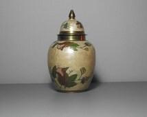 Indian Brass Enamel Ginger Jar/Indian Brass Enamel Vase/Brass Ginger Jar/Brass Vase/Indian Ginger Jar/Indian Vase/Hollywood Regency/Bohemian