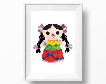 Mexican Doll Lupita Watercolor Art Print --- Beautiful Home Decor Piece