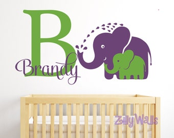 Wall Decal Elephant Wall Decal Nursery Name Decal Name decal