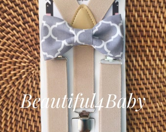 Grey Baby Bow Tie, Toddler Bow Tie and Suspenders, Little Boy Suspender and Bowtie Set- 6 Months to 5 Years Old