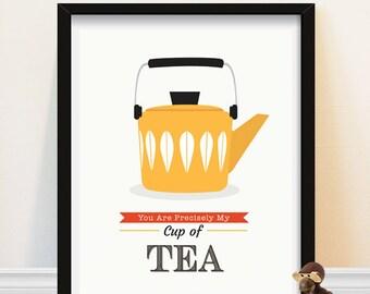 Midcentury Kitchen Art, Scandinavian Kitchen Art, Vintage Tea Pot Print, Midcentury Design, Lotus Leaf Pattern