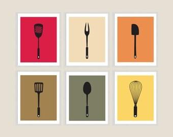 Kitchen Utensils Prints - Retro Modern Kitchen Art Prints - Utensil Silhouettes - Set of Six - Minimalist Kitchen Art