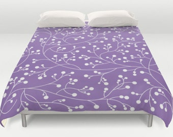 Lavender Duvet, Floral Bed Cover, Modern Comforter, Floral Pattern Duvet, Purple Bed Cover, White Purple Bedding, Queen Full Size