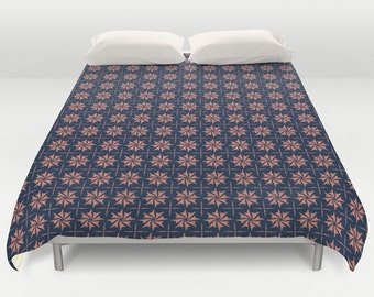 Coral Navy Duvet, Navy Duvet Cover, Retro Pattern Bedding, Flower Bed Cover, Coral Comforter, King Queen Full Twin, Size, Blue Bedding