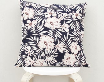 Tropical pattern pillow cover , Dark Navy Linen pillow, Tropical cushion Case 01